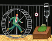 Illustration of Man in Wheel — Stock Photo