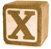 Photograph of Sepia Wooden Block Letter X — Stock Photo