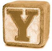 Photograph of Sepia Wooden Block Letter Y — Stock Photo