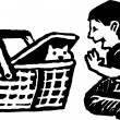 Boy Playing with Kitten in Picnic Basket — Stock Vector