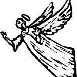 Holzschnitt-Illustration von angel — Stockvektor