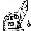 Woodcut Illustration of Crane with Crane Operator — Stock vektor