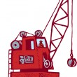 Woodcut Illustration of Crane with Crane Operator — Stock Vector