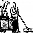 Stock Vector: Woodcut Illustration of Janitor