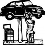 Auto Mechanic Working on Car on Lift — Stock Vector
