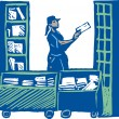 Postal Worker Sorting Mail — Stockvectorbeeld