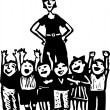 Preschool Teacher and Class of Young Children — Imagen vectorial