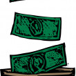 Woodcut illustration of Billfold — Stock Vector