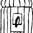 Bird Sitting on Perch in Birdcage — Imagen vectorial