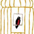 Bird Sitting on Perch in Birdcage — Vektorgrafik