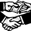 Vector Illustration of Bribery Money Changing Hands — Image vectorielle