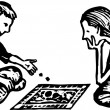 Boy and Girl Playing Board Game — Stock Vector