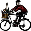 French Man Riding Bicycle with French Bread and Wine — Stock Vector