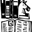 Woodcut illustration of Books — Imagen vectorial