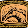 Western Belt Buckle with Horse — Stock Vector