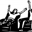 Two Men Watching Sports on TV — Imagen vectorial