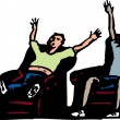 Two Men Watching Sports on TV — Stock vektor
