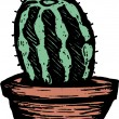 Woodcut Illustration of Barrel Cactus in Pot — 图库矢量图片
