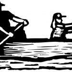 Vector illustration of Canoeing — Stock Vector