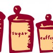 Woodcut illustration of Canisters — Stockvektor