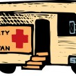 Woodcut Illustration of Community Care Health Van — Stock Vector