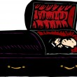 Woodcut Illustration of Corpse in Casket — Stock Vector