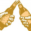 Woodcut Illustration of Two Hands Toasting with Beer — Stock Vector