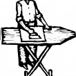 Woodcut Illustration of Man Ironing — Imagen vectorial
