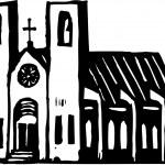 Holzschnitt-Abbildung der Kirche Kathedrale — Stockvektor