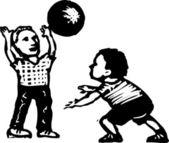 Ragazzi che giocano con la palla — Vettoriale Stock