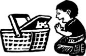 Boy Playing with Kitten in Picnic Basket — Stockvector