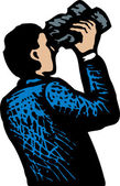 Man Looking Through Binoculars — Stock Vector
