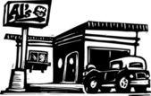 Vector illustration of Al's Diner — Stock Vector