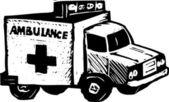 Woodcut Illustration of Ambulance — Stock Vector