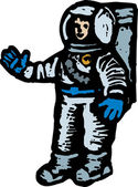 Woodcut illustration of Astronaut — Stock Vector