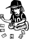 Woodcut Illustration of Baseball Cards — Stock Vector