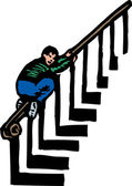 Boy Sliding Down Banister — Stock Vector