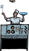 Woodcut Illustration of Short Order Cook — Stock Vector