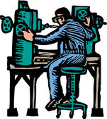 Woodcut Illustration of Machinist — Stock Vector