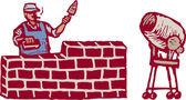 Woodcut Illustration of Man Constructing Brick Wall — Stock Vector