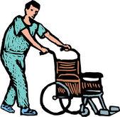 Hospital Orderly or Nurse with Wheelchair — Stock Vector
