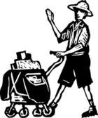 Postal Worker Delivering Mail — Stock Vector