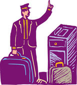 Airport Skycab Handling Luggage — Vector de stock