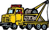 Woodcut Illustration of Tow Truck — Vector de stock