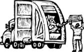Trashman Dumping Trash into Garbage Truck — Stock Vector