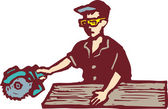 Man with Circular Saw Cutting Board — Stock Vector