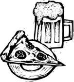 Beer & Pizza — Stock Vector
