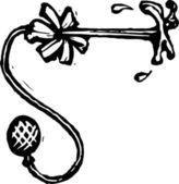 Vector Illustration of Squirting Flower Practical Joke — Stock Vector