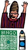 Träsnitt illustration av bingo — Stockvektor