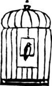 Bird Sitting on Perch in Birdcage — Stock Vector